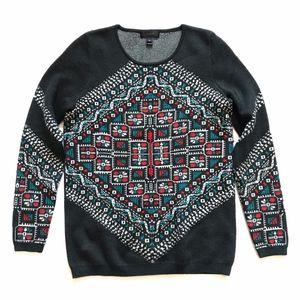 JCREW Merino Knotted Scarf Sweater Fair Isle XS